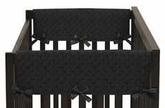 Solid Black Minky Dot Baby Crib Side Rail Guard Covers by Sweet Jojo Designs - Set of 2