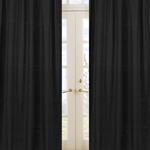 Solid Black Minky Dot Window Treatment Panels by Sweet Jojo Designs - Set of 2