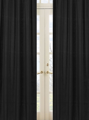 Solid Black Minky Dot Window Treatment Panels by Sweet Jojo Designs - Set of 2 - Click to enlarge