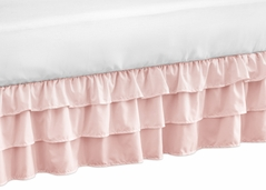 Solid Color Blush Pink Shabby Chic Girl Ruffled Crib Bed Skirt Dust Ruffle for Harper Collection by Sweet Jojo Designs