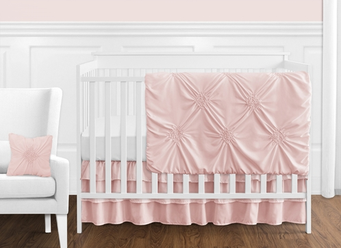 Solid Color Blush Pink Shabby Chic Harper Baby Girl Crib Bedding Set without Bumper by Sweet Jojo Designs - 11 pieces - Click to enlarge
