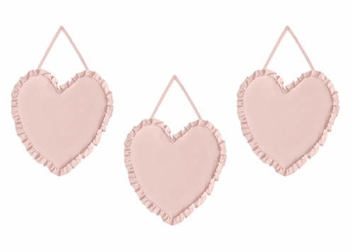 Solid Color Blush Pink Shabby Chic Heart Wall Hanging Decor for Harper Collection by Sweet Jojo Designs - Set of 3 - Click to enlarge