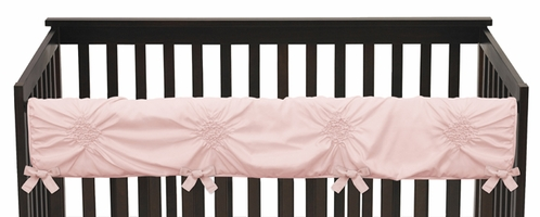 Solid Color Blush Pink Shabby Chic Long Front Crib Rail Guard Baby Teething Cover Protector Wrap for Harper Collection by Sweet Jojo Designs - Click to enlarge