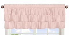 Solid Color Blush Pink Shabby Chic Ruffle Window Treatment Valance for Harper Collection by Sweet Jojo Designs
