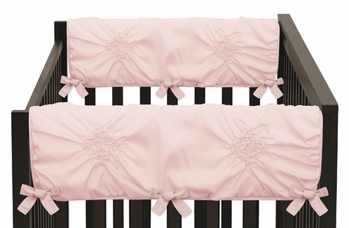 Solid Color Blush Pink Shabby Chic Side Crib Rail Guards Baby Teething Cover Protector Wrap for Harper Collection by Sweet Jojo Designs - Set of 2 - Click to enlarge