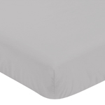 Solid Color Grey Baby or Toddler Fitted Crib Sheet for Harper Collection by Sweet Jojo Designs