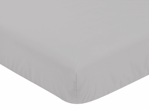 Solid Color Grey Baby or Toddler Fitted Crib Sheet for Harper Collection by Sweet Jojo Designs - Click to enlarge