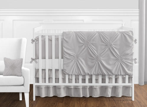 Solid Color Grey Shabby Chic Harper Baby Girl Crib Bedding Set with Bumper by Sweet Jojo Designs - 9 pieces - Click to enlarge