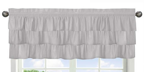 Solid Color Grey Shabby Chic Ruffle Window Treatment Valance for Harper Collection by Sweet Jojo Designs - Click to enlarge