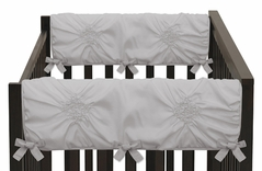 Solid Color Grey Shabby Chic Side Crib Rail Guards Baby Teething Cover Protector Wrap for Harper Collection by Sweet Jojo Designs - Set of 2