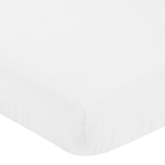 Solid Color White Baby or Toddler Fitted Crib Sheet for Harper Collection by Sweet Jojo Designs