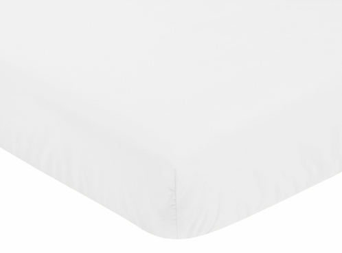 Solid Color White Baby or Toddler Fitted Crib Sheet for Harper Collection by Sweet Jojo Designs - Click to enlarge