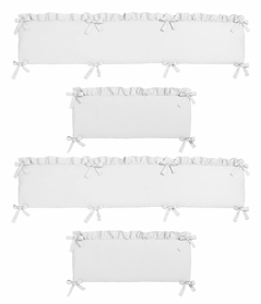 Solid Color White Shabby Chic Baby Crib Bumper Pad for Harper Collection by Sweet Jojo Designs