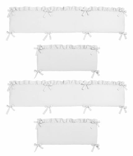 Solid Color White Shabby Chic Baby Crib Bumper Pad For Harper