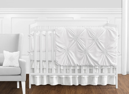 Solid Color White Shabby Chic Harper Baby Girl Crib Bedding Set with Bumper by Sweet Jojo Designs - 9 pieces - Click to enlarge