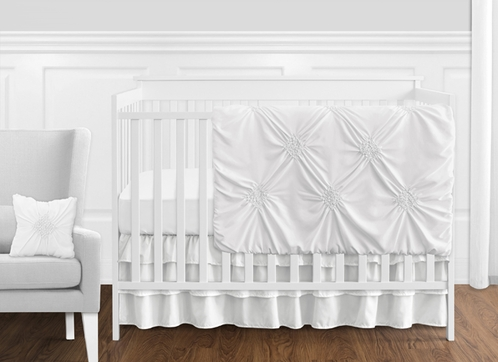 Solid Color White Shabby Chic Harper Baby Girl Crib Bedding Set without Bumper by Sweet Jojo Designs - 11 pieces - Click to enlarge