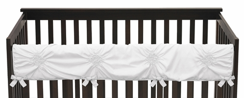 Solid Color White Shabby Chic Long Front Crib Rail Guard Baby Teething Cover Protector Wrap for Harper Collection by Sweet Jojo Designs - Click to enlarge