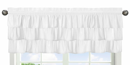 Solid Color White Shabby Chic Ruffle Window Treatment Valance for Harper Collection by Sweet Jojo Designs - Click to enlarge