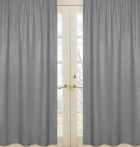 Solid Gray Window Treatment Panels for Orange Stripe Collection - Set of 2 - Click to enlarge
