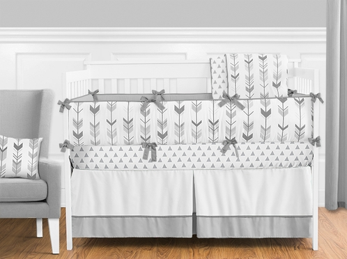 Grey and White Woodland Arrow Boy, Girl, Unisex Baby Crib Bedding Set with Bumper by Sweet Jojo Designs - 9 pieces - Click to enlarge