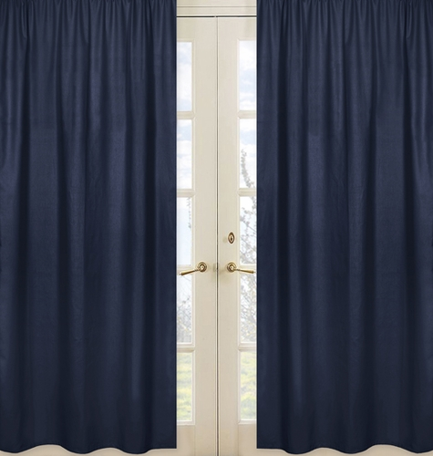 Navy Window Treatment Panels for Space Galaxy Collection - Set of 2 - Click to enlarge