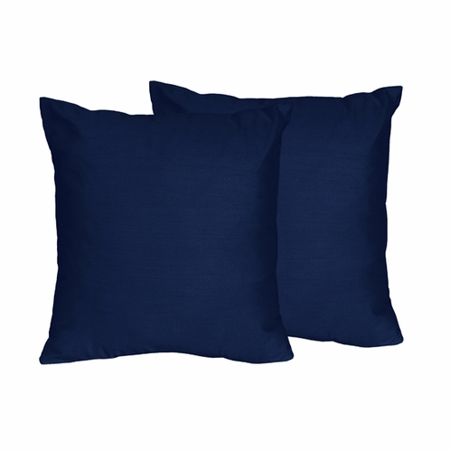 Solid Navy Decorative Accent Throw Pillows for Navy and Lime Stripe Collection - Set of 2 - Click to enlarge