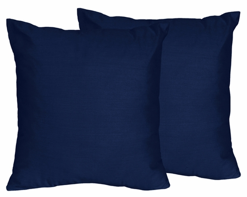 Solid Navy Decorative Accent Throw Pillows for Navy Blue and Orange