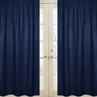 Solid Navy Window Treatment Panels for Boys Plaid Collection - Set of 2