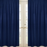 Solid Navy Window Treatment Panels for Navy Blue and Gray Stripe Collection - Set of 2