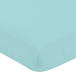Solid Turquoise Baby or Toddler Fitted Crib Sheet for Mod Jungle Collection by Sweet Jojo Designs