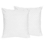 Solid White Minky Dot Decorative Accent Throw Pillows - Set of 2