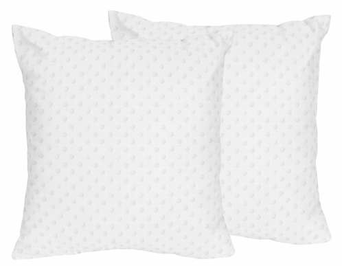 Solid White Minky Dot Decorative Accent Throw Pillows - Set of 2 - Click to enlarge