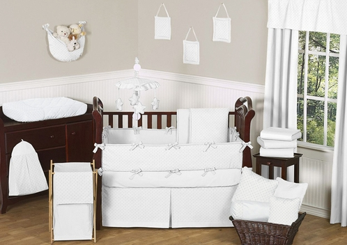 Solid White Minky Dot Baby Bedding - 9pc Crib Set by Sweet Jojo Designs - Click to enlarge