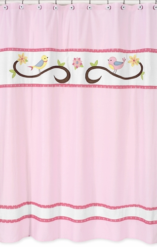Song Bird Kids Bathroom Fabric Bath Shower Curtain by Sweet Jojo Designs - Click to enlarge
