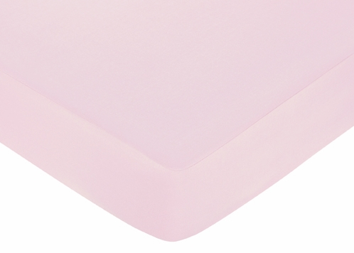 Sophia Fitted Crib Sheet for Baby and Toddler Bedding Sets by Sweet Jojo Designs - Solid Pink - Click to enlarge