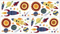 Space Galaxy Baby, Childrens and Kids Wall Decal Stickers - Set of 4 Sheets