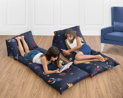 Space Galaxy Collection Kids Teen Floor Pillow Case Lounger Cushion Cover by Sweet Jojo Designs - Click to enlarge
