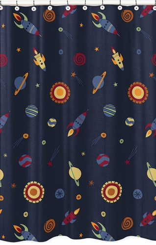 Space Galaxy Kids Bathroom Fabric Bath Shower Curtain - Click to enlarge