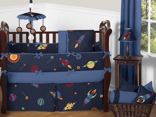 Space Galaxy Baby Bedding - 9pc Crib Set by Sweet Jojo Designs - Click to enlarge