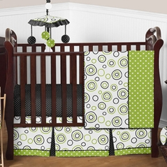 Spirodot Lime and Black Baby Bedding - 4pc Crib Set by Sweet Jojo Designs
