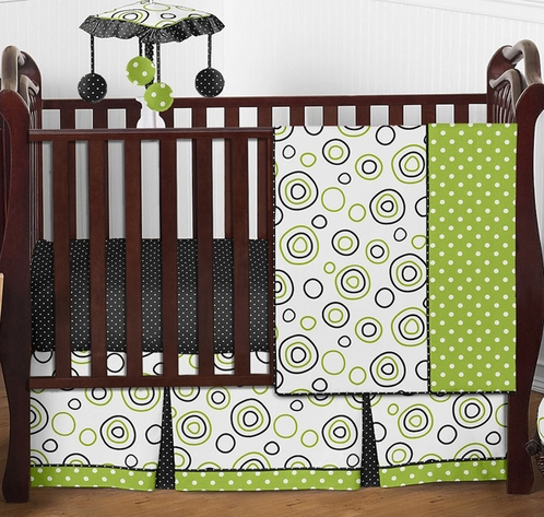 Spirodot Lime and Black Baby Bedding - 4pc Crib Set by Sweet Jojo Designs - Click to enlarge
