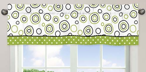 Spirodot Lime and Black�Window Valance by Sweet Jojo Designs - Click to enlarge