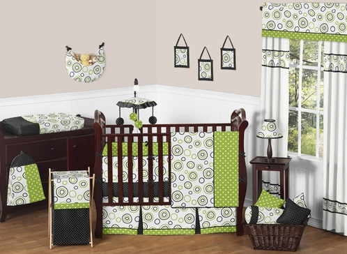 Spirodot Lime and Black Baby Bedding - 9 pc Crib Set by Sweet Jojo Designs - Click to enlarge
