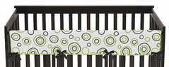 Spirodot Lime and Black Baby Crib Long Rail Guard Cover by Sweet Jojo Designs