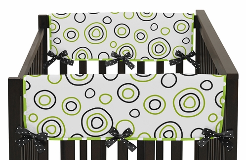 Spirodot Lime and Black Baby Crib Side Rail Guard Covers by Sweet Jojo Designs - Set of 2 - Click to enlarge