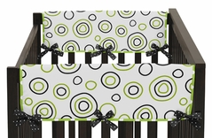 Spirodot Lime and Black Baby Crib Side Rail Guard Covers by Sweet Jojo Designs - Set of 2