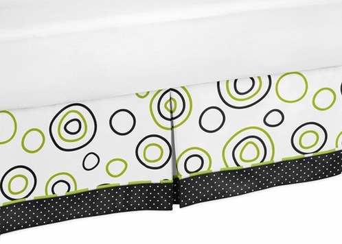 Spirodot Lime and Black Bed Skirt for Toddler Bedding Sets by Sweet Jojo Designs - Click to enlarge
