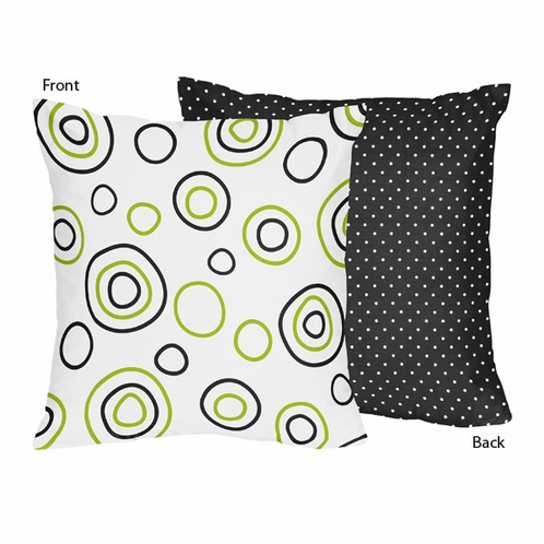 Spirodot Lime and Black Decorative Accent Throw Pillow by Sweet Jojo Designs - Click to enlarge