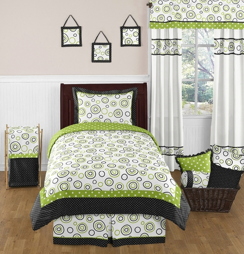 Spirodot Lime and Black Childrens and Kids Bedding Set - 4 pc Twin Set by Sweet Jojo Designs - Click to enlarge