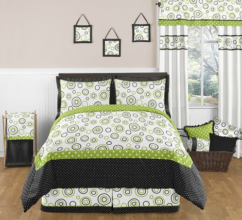 Spirodot Lime and Black Childrens and Kids Bedding - 3pc Full / Queen Set by Sweet Jojo Designs - Click to enlarge